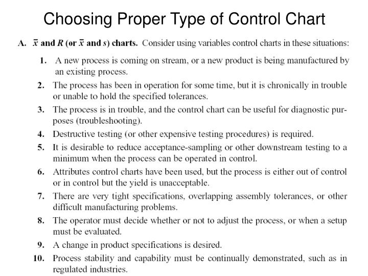 Choosing Proper Type of Control Chart