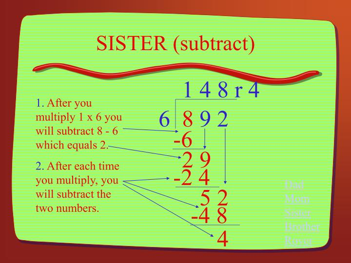 SISTER (subtract)