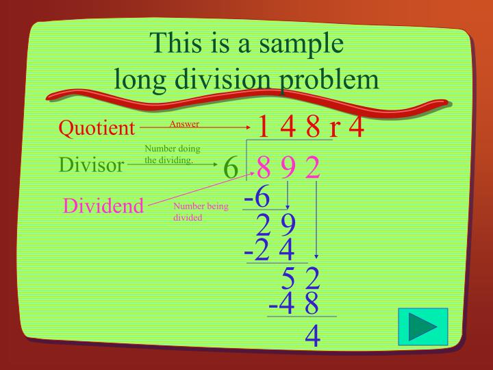 This is a sample long division problem