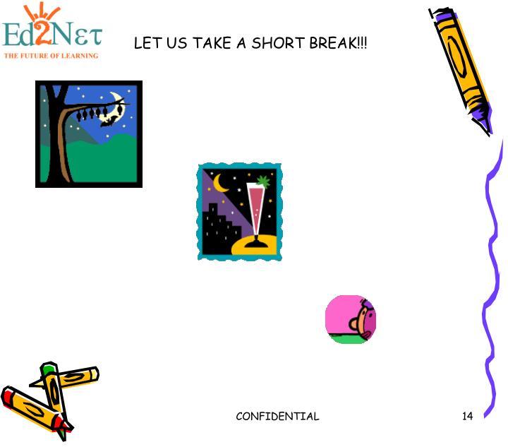 LET US TAKE A SHORT BREAK!!!