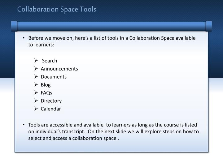Collaboration space tools1