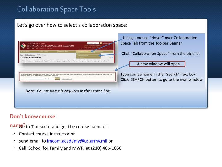Collaboration Space Tools