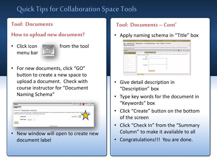 Quick Tips for Collaboration Space Tools