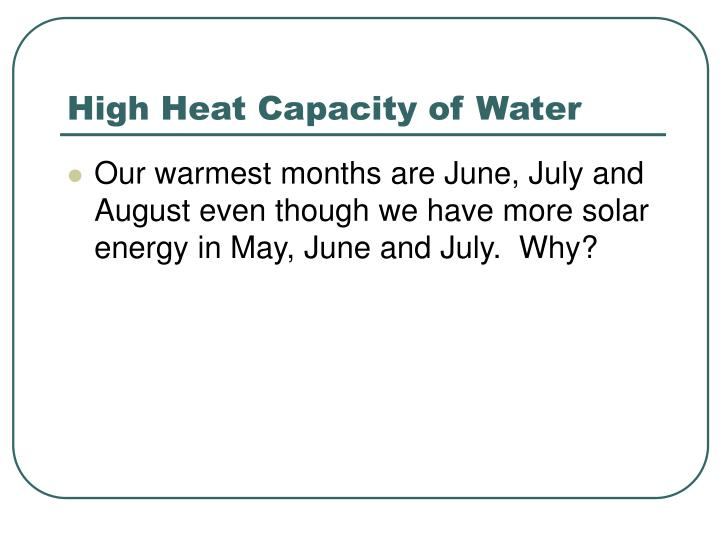 High Heat Capacity of Water