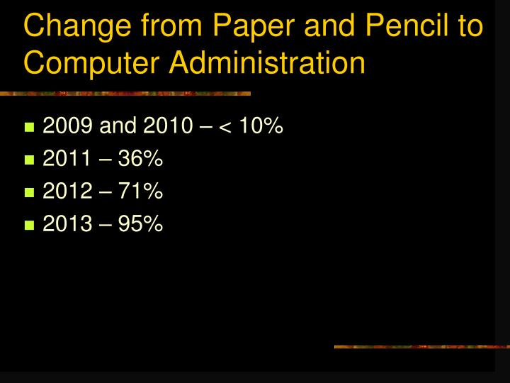 Change from Paper and Pencil to Computer Administration