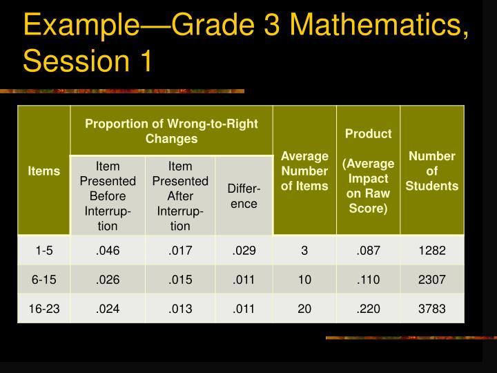 Example—Grade 3 Mathematics,