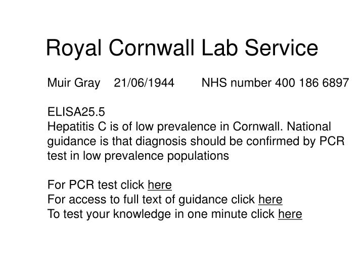Royal Cornwall Lab Service