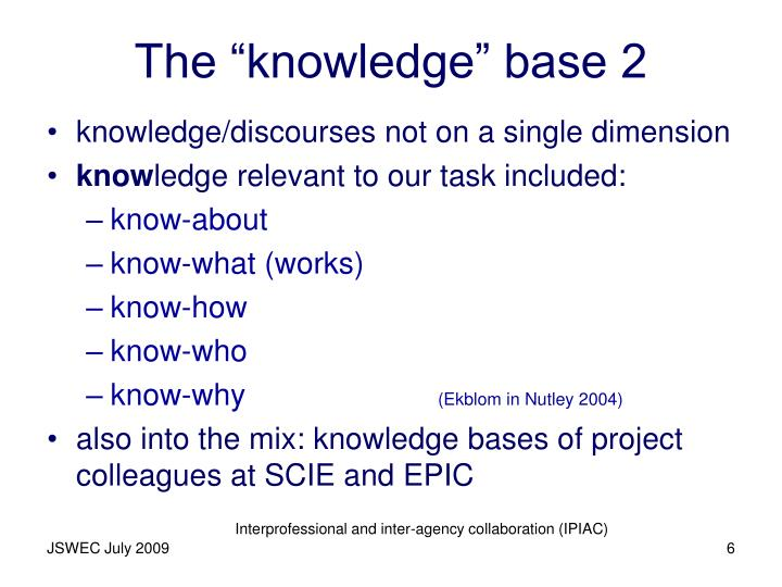 "The ""knowledge"" base 2"