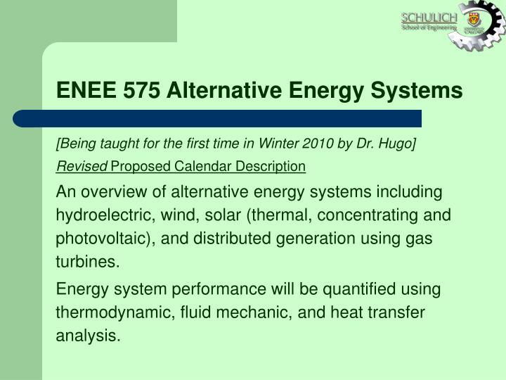 ENEE 575 Alternative Energy Systems
