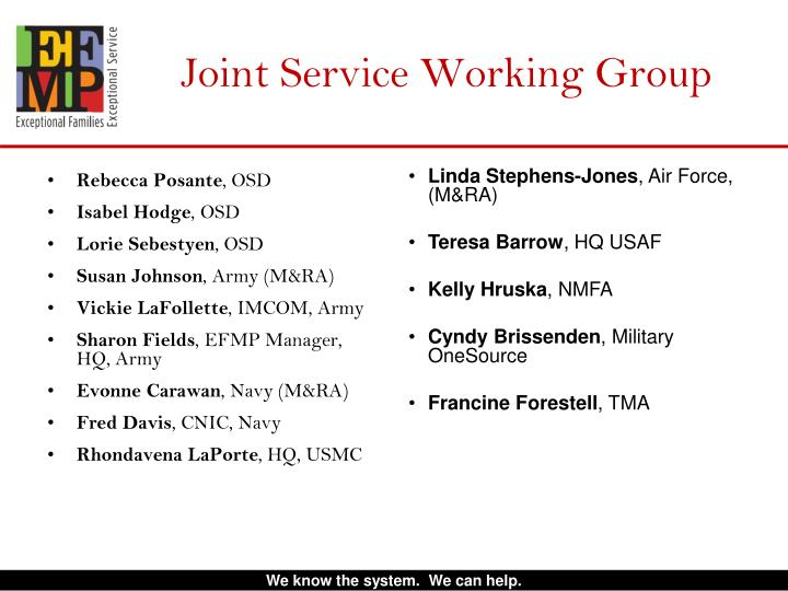 Joint Service Working Group