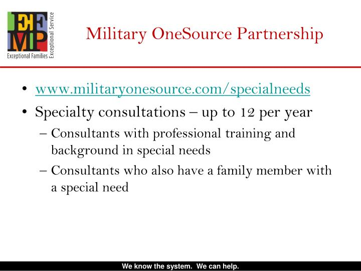 Military OneSource Partnership