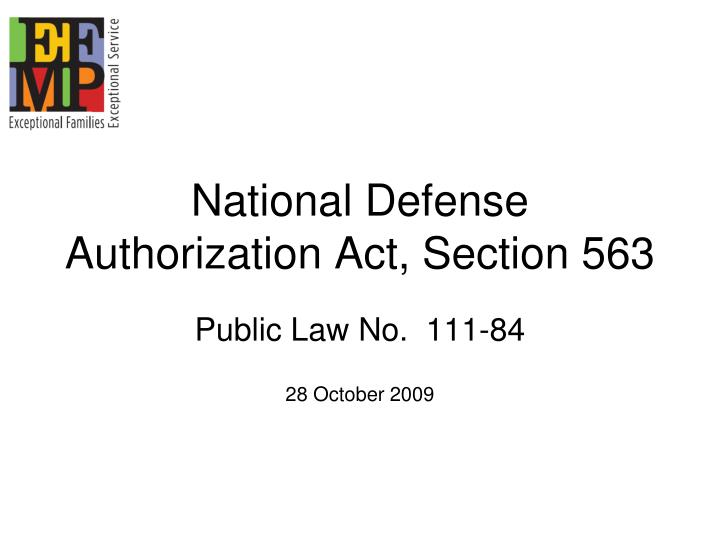 National Defense Authorization Act, Section 563