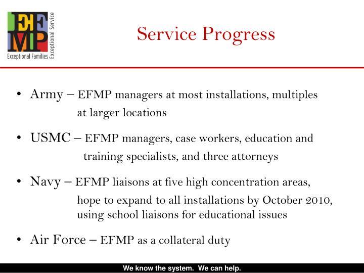 Service Progress