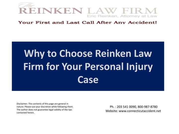 Why to choose reinken law firm for your personal injury case