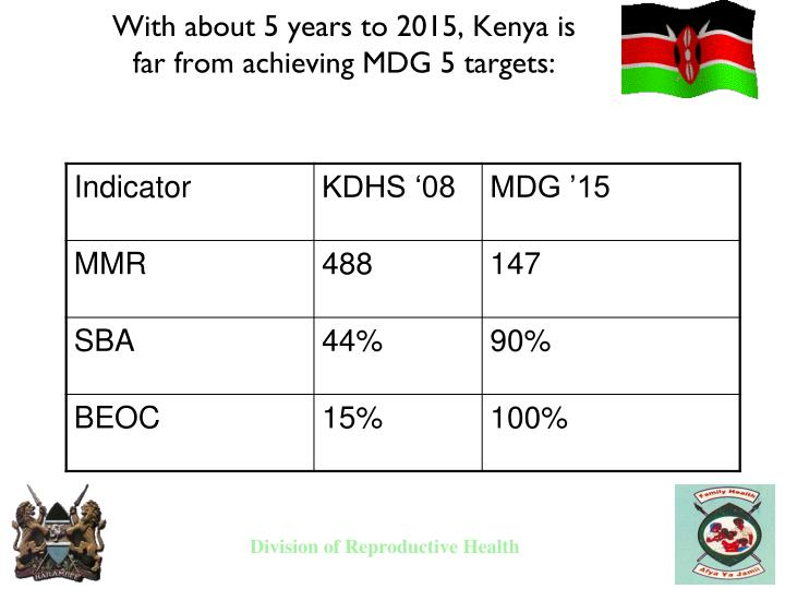 With about 5 years to 2015, Kenya is far from achieving MDG 5 targets:
