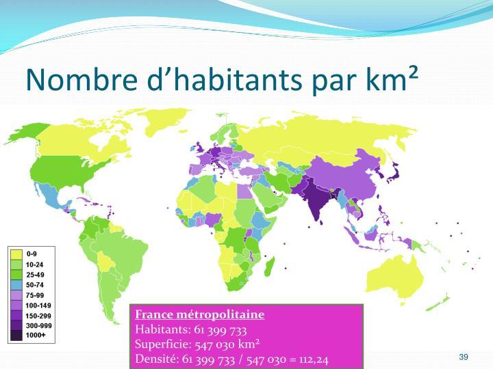 Nombre d'habitants par km²