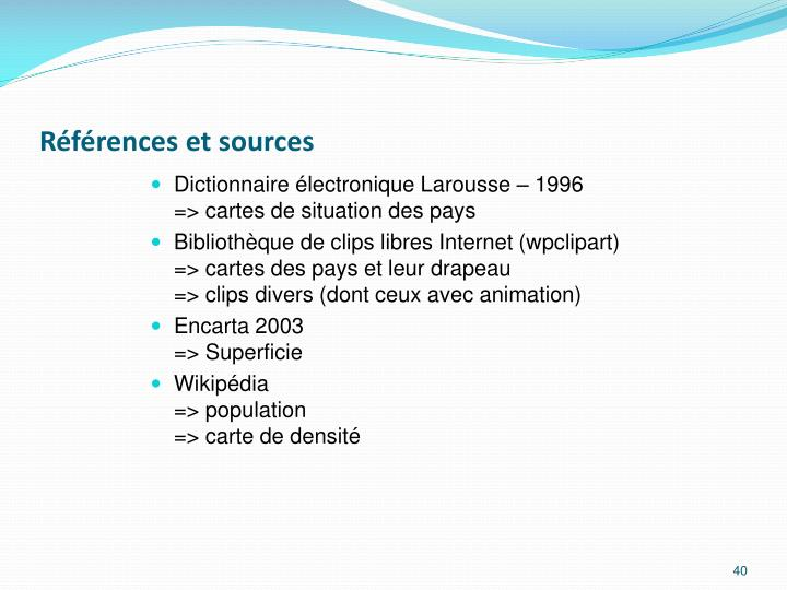 Références et sources