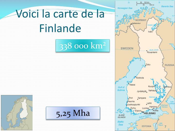 Voici la carte de la Finlande