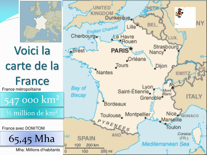 Voici la carte de la France