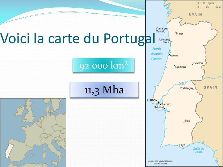 Voici la carte du Portugal