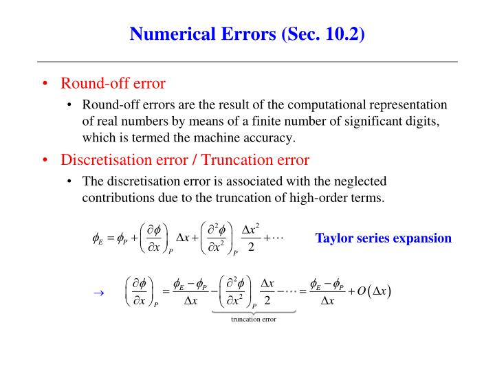 Numerical Errors (Sec. 10.2)