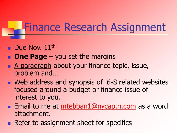 Finance Research Assignment