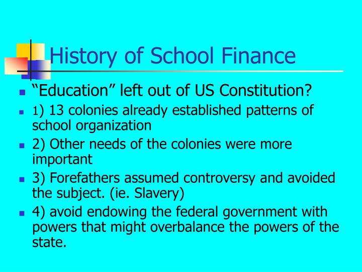 History of School Finance