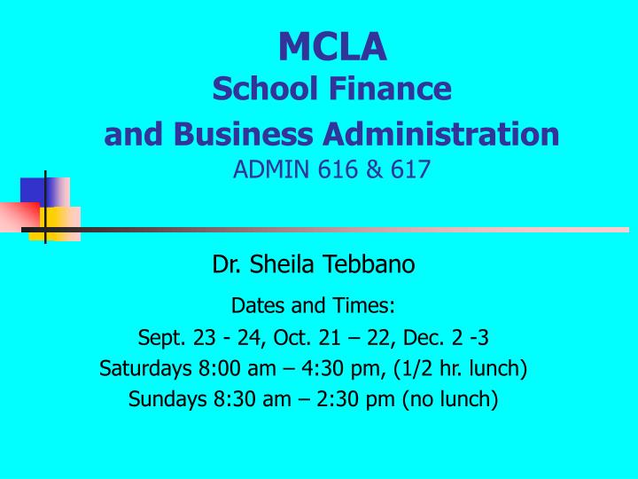 Mcla school finance and business administration admin 616 617