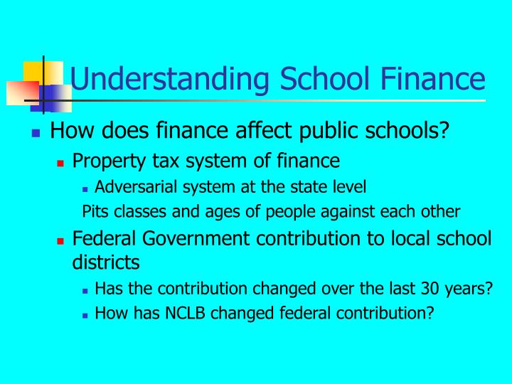 Understanding School Finance