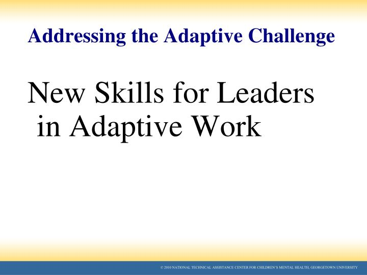 Addressing the Adaptive Challenge