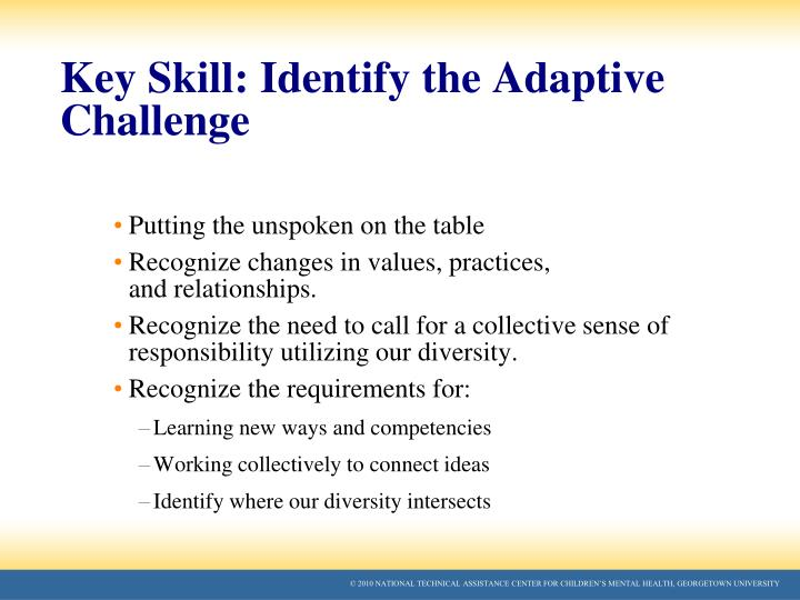 Key Skill: Identify the Adaptive Challenge