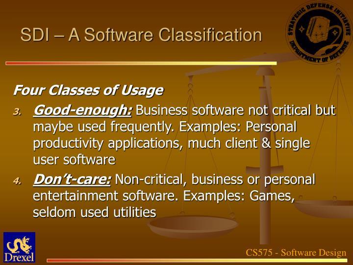 SDI – A Software Classification