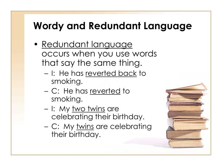 Wordy and Redundant Language