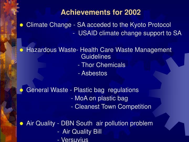 Achievements for 2002