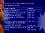 budget allocations 2003 2003 financial year