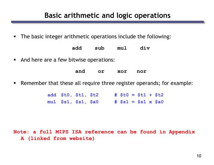 Basic arithmetic and logic operations