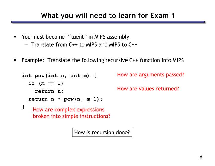 What you will need to learn for Exam 1
