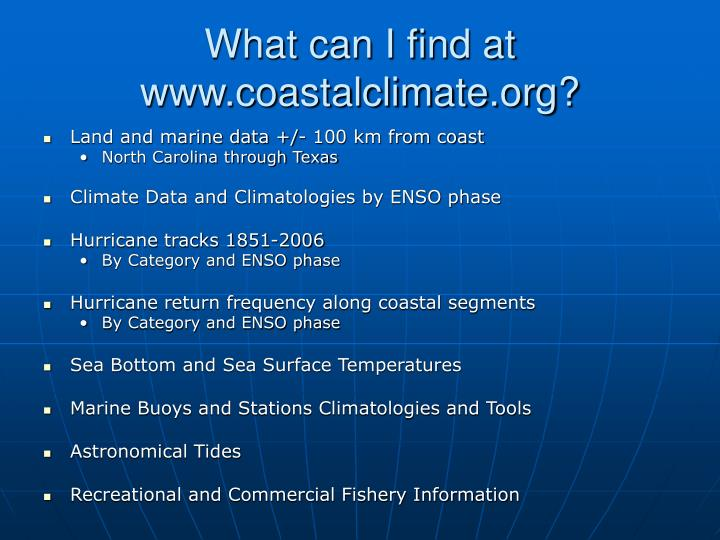 What can i find at www coastalclimate org