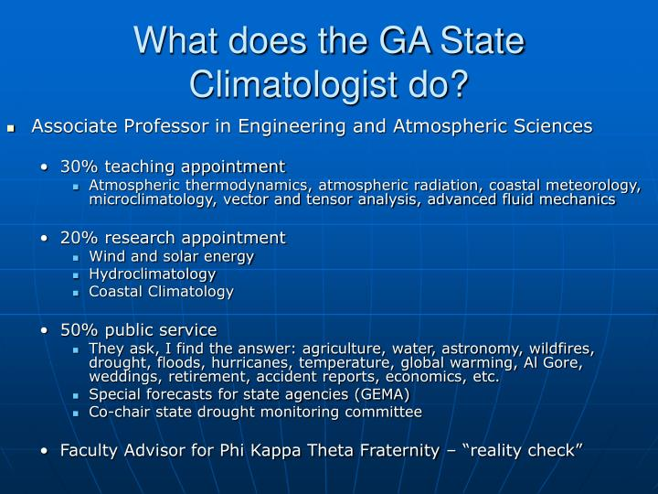What does the GA State Climatologist do?