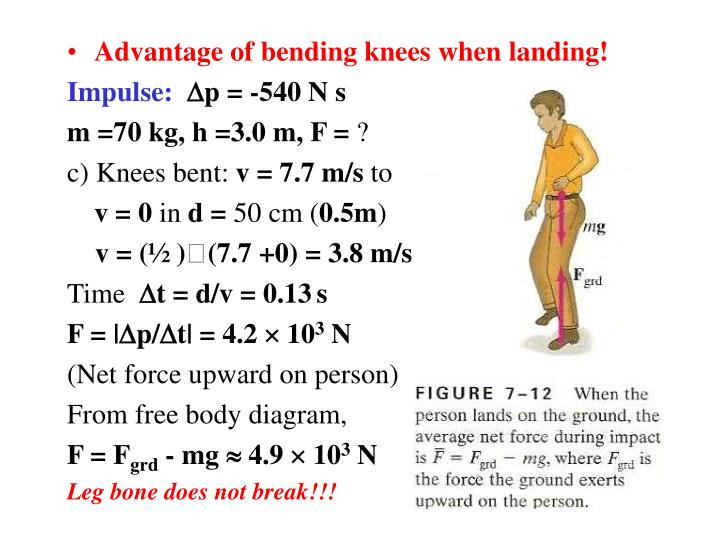 Advantage of bending knees when landing!