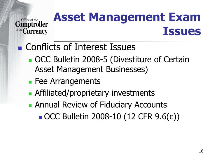 Asset Management Exam Issues