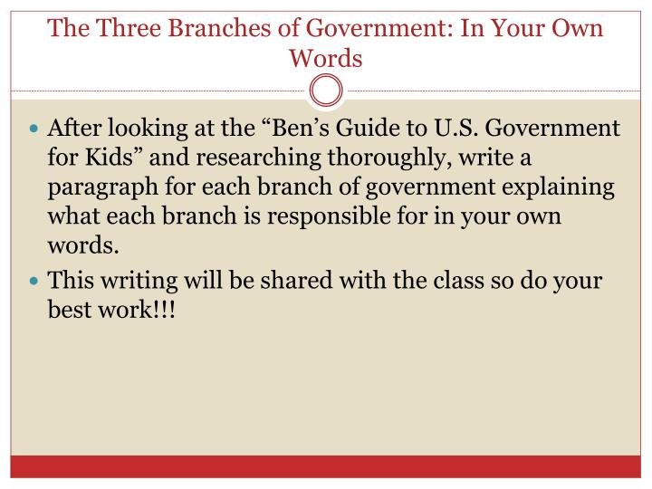 The Three Branches of Government: In Your Own Words