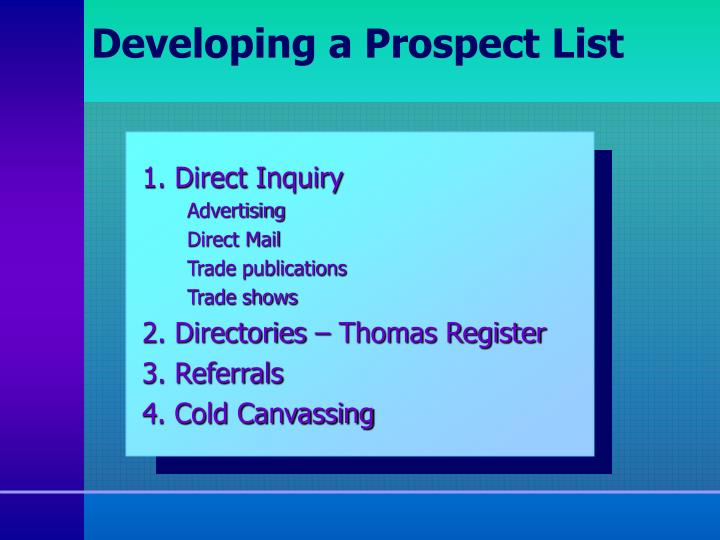 Developing a Prospect List