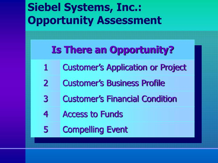 Siebel Systems, Inc.: Opportunity Assessment