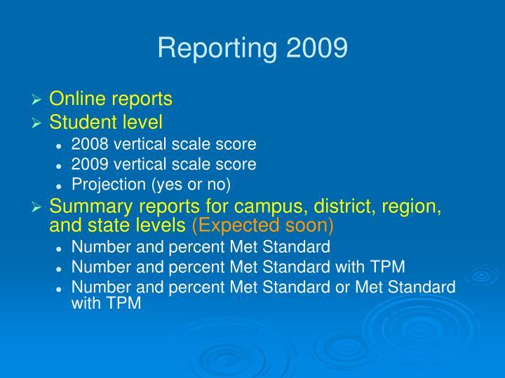 Reporting 2009