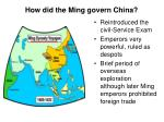 how did the ming govern china