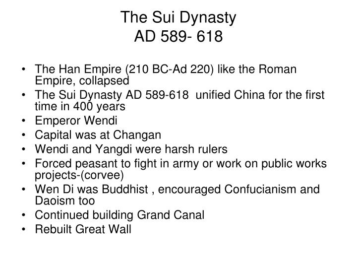 The sui dynasty ad 589 618