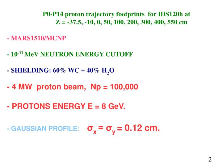 P0-P14 proton trajectory footprints  for IDS120h at