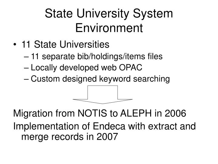 State university system environment