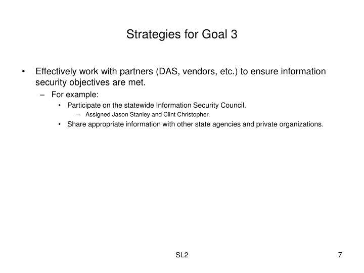 Strategies for Goal 3